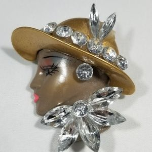 Vintage custom jewelry brooches pin face